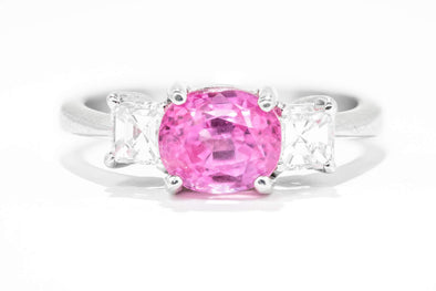 Adele Diamond 18K White Gold Three Stone 1.5ct Pink Sapphire & .46ctw Diamond Fashion Ring
