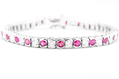 14k 8.75CT. TW. Ruby and Diamond Tennis Bracelet
