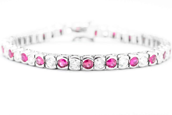 Adele Diamond 14k White Gold 5cts Ruby & 3.75cts Diamond Tennis Bracelet 0298