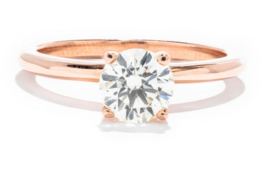 14 Rose Gold Adele Custom Design SI1 L .92ct Round Diamond Solitaire Ring