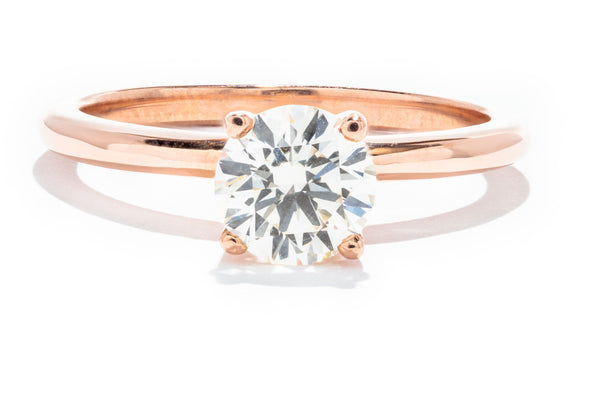 14K Rose Gold Adele Custom Design SI1 L .92ct Round Diamond Solitaire Ring