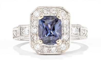 Adele Diamond 18K White Gold 2.06ct Sapphire & .71ctw Diamond Halo Fashion Ring 0308