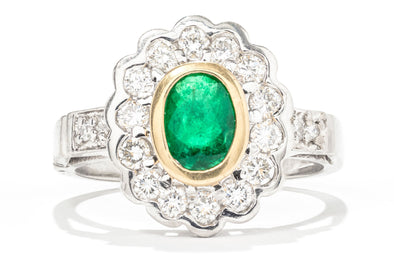 Adele Diamond 18K Yellow Gold & Platinum Emerald & Diamond Fashion Ring 321
