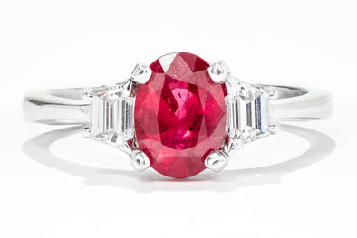 18K White Gold Burmese Ruby and Diamond Ring