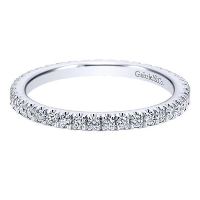 Ladies 14K White Gold Eternity Narrow Anniversary Band