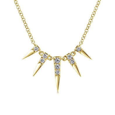 Gabriel NY 14k Yellow Gold Ladies 5 Diamond Spike Accent Necklace