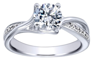 14K Contemporary Twist Shank Diamond Engagement Ring