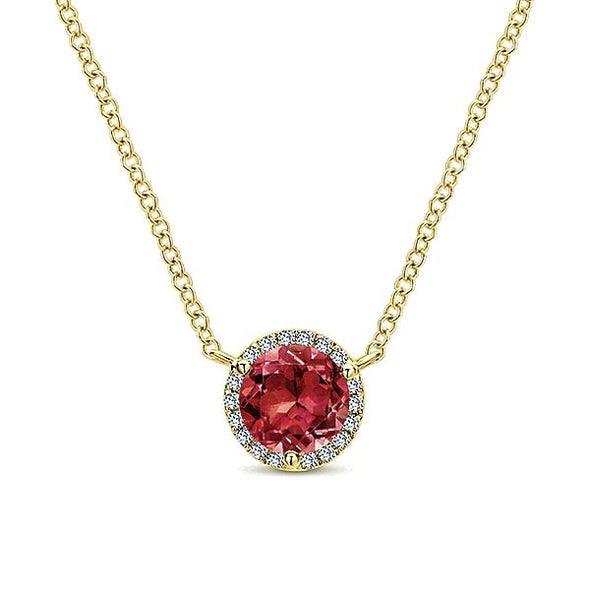14K Yellow Gold Diamond Garnet Pendant