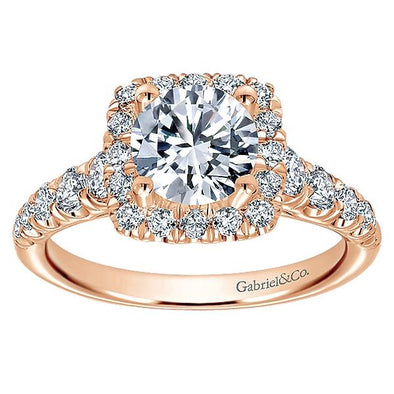 Graduating Pave And Round Diamond Halo Engagement Ring