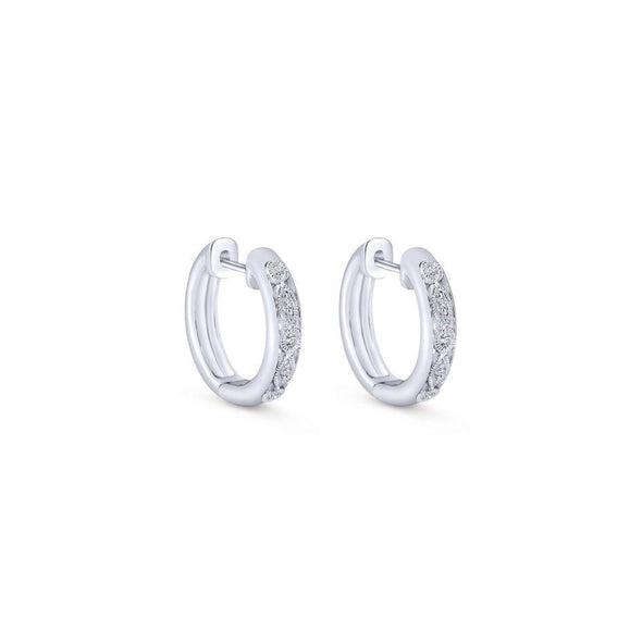 Gabriel NY Silver Alternating Pave Diamond Huggie Earrings