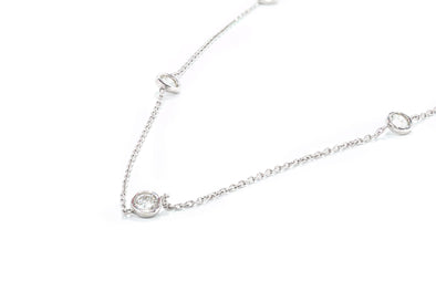 14k White Gold 9 Stones 1ctw Diamonds by the Yard Necklace