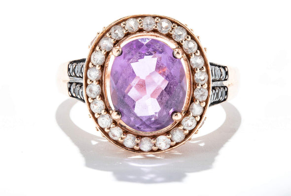 Adele Diamond 14K Rose Gold Amethyst & Sapphire Accent Halo Fashion Ring