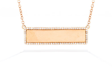 Royal Jewelry 14K Rose Gold .28ctw Diamond Bar Necklace PC7018D