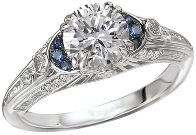 14K Vintage Sapphire Accent Filigree Diamond Engagement Ring