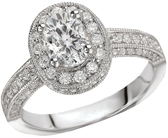 14K Victorian Milgrain Detail Oval Diamond Halo Engagement Ring