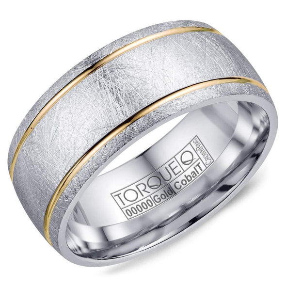 Gents Cobalt & Gold Wedding Band w/ Diamond Brushed White Cobalt w/ Yellow Gold Line Detailing CW105MY9 (9mm)