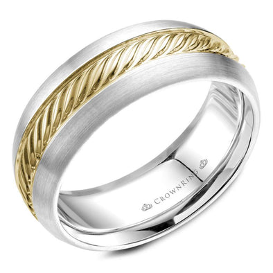 Gents 14K White & YG Wedding Band w/ Roped YG Center WB-060R8YW (8mm)