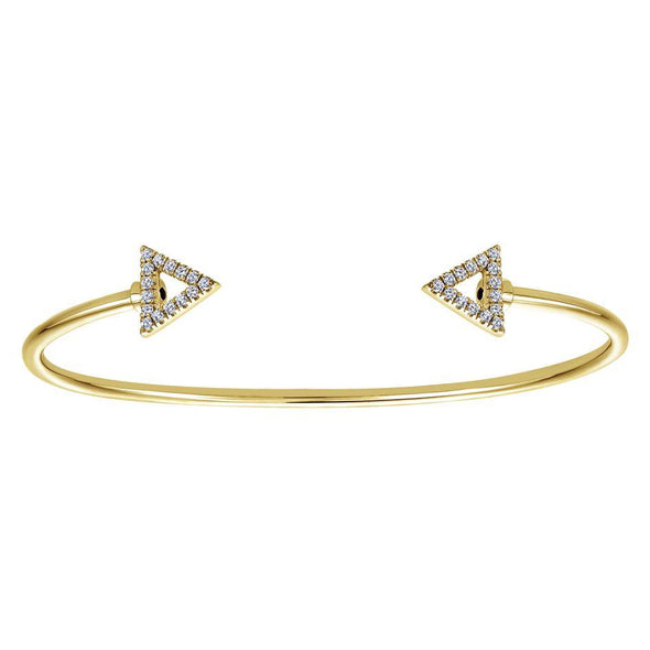 Gabriel NY 14K Yellow Gold Diamond Triangle Ends Bangle