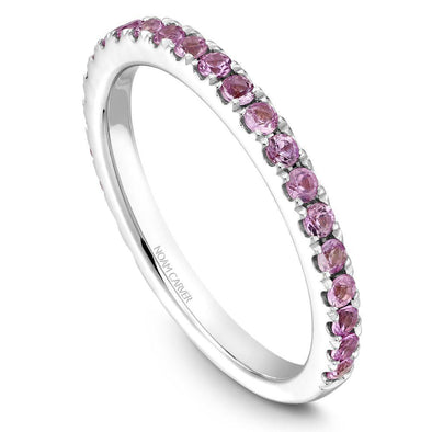 Noam Carver Platinum Stackable Ring - 24 Round Pink Sapphires STA3-1WZ-P