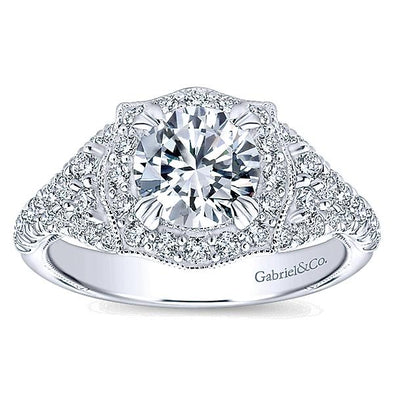 14K Victorian Vintage Halo Diamond Engagement Ring