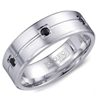 Gents White Cobalt Wedding Band w/ Brushed Finish, Six Black Sapphires & Line Detail CB-2195 (7mm)