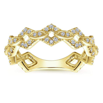 Gabriel NY 14k Yellow Gold Ladies Regal Pave Diamond Stackable Ring