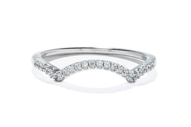18K White Gold Diamond .10ctw Contemporary Wedding Band