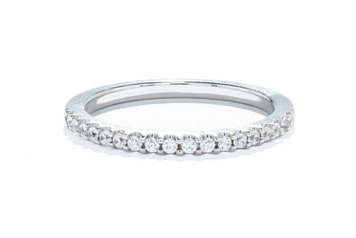 18K White Gold 1/5ctw Round Contemporary Diamond Band