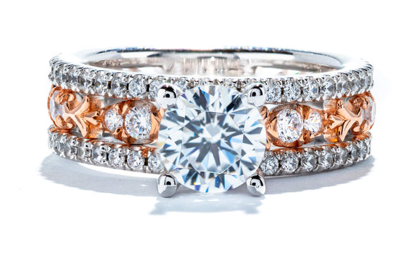 Gabriel New York 14K White & Rose Gold Art Deco Engagement Ring ER10298