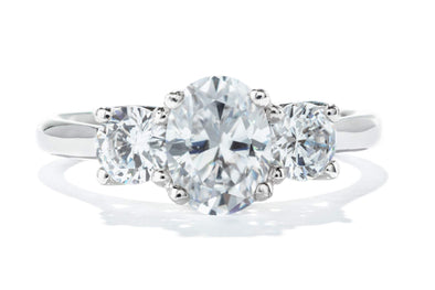 Brand: Adele Diamond,     Product Type: Engagement Ring,  SKU: 122105,  Metal Type: 14k White Gold,  Ring Style: 3-Stone,  Setting Carat Total Weight: 1ct,  Setting Stone Type: Diamond,  Stone Shape: Oval,