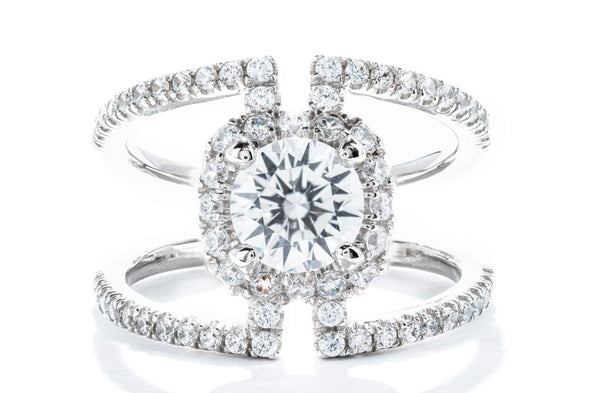 Gabriel New York 14K White Gold Halo Engagement Ring ER12641R4