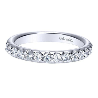 Ladies 14K White Gold Scalloped Diamond Anniversary Band