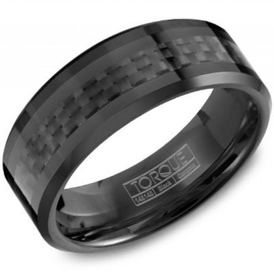 Torque Black Ceramic Carbon Fiber Inlay Ring with Beveled Edges 8mm