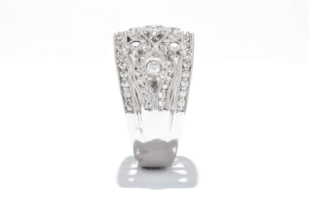 Adele Diamond One of a Kind Vintage 14K White Gold 1ctw Diamond Fashion Ring 1809