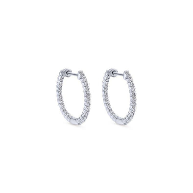 Gabriel NY 14k White Gold Diamond Hoop Earrings 1/2 Carat