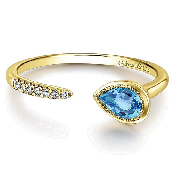 Gabriel NY Ladies 14K Yellow Gold Diamond Swiss Blue Topaz Fashion Ring LR51049Y45BT