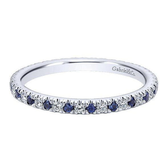 Ladies 14K White Gold Sapphire and Diamond Eternity Anniversary Band