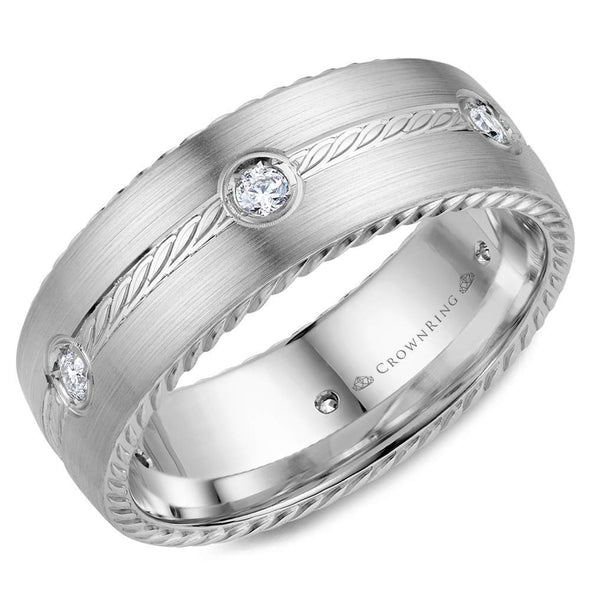 Gents 14K WG Wedding Band w/ Six Round Diamonds & Rope Detailing WB-001RD8W (8mm)