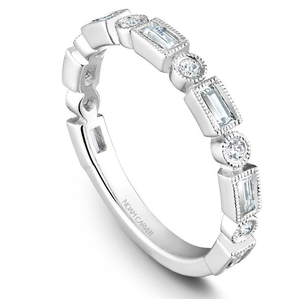 Noam Carver Platinum Stackable Ring - 6 Round & 7 Baguette Diamonds STB30-1WZ-D