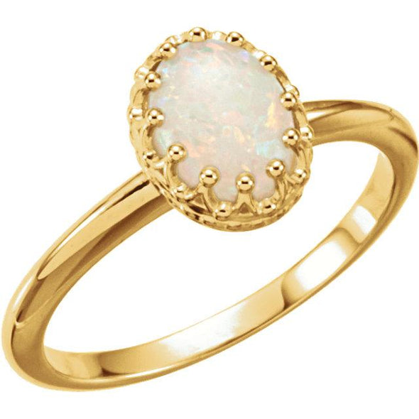 14K Yellow Gold Oval Opal Solitaire Fashion Ring