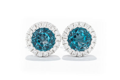 Gabriel New York 14K White Gold Blue Topaz with .10ct Diamond Halo Studs Earrings EG11000W45BT