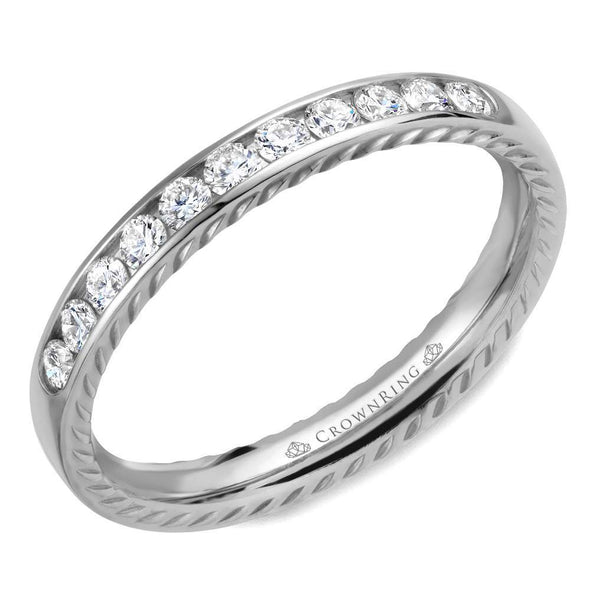 14K WG Wedding Band w/ 11 Round Diamonds & Rope Detailing WB-018RD3W (3mm)