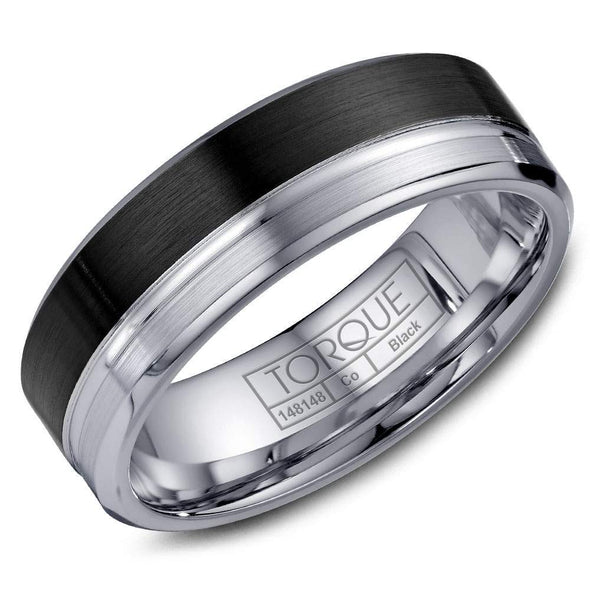 Gents Black & White Cobalt Wedding Band w/ Brushed Finish & White Cobalt Line Detailing CBB-2053 (7mm)