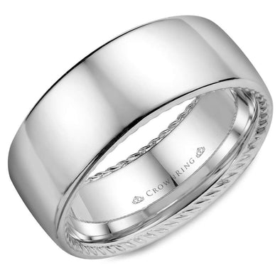 Gents 14K WG Wedding Band w/ Polished Finish & Hidden Rope Detailing WB-012R9W (9mm)