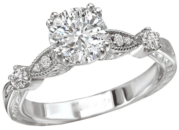 14K Victorian Double Prong Filigree Band Diamond Engagement Ring