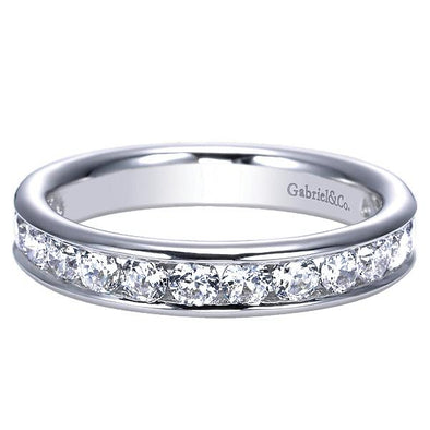 Ladies 14K White Gold Straight Channel Set Anniversary Band