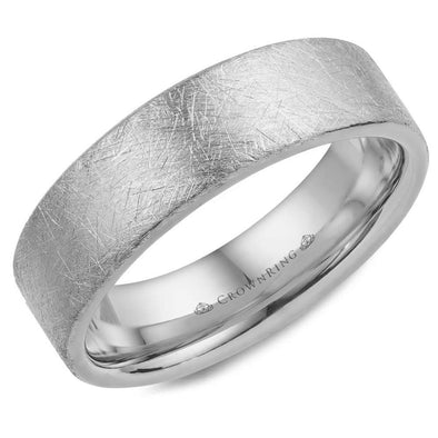 Gents 14K WG Wedding Band w/ Diamond Brushed Finish WB-025C6W (6mm)