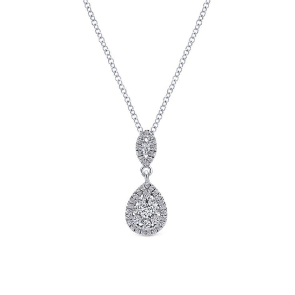 Gabriel NY 14k White Gold Ladies Diamond Drop Pave Necklace