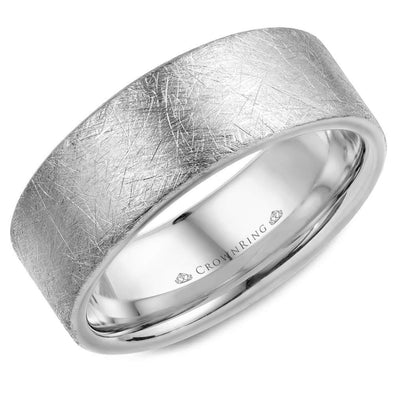 Gents 14K WG Wedding Band w/ Diamond Brushed Finish WB-025C8W (8mm)