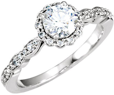 14K White Gold Vintage Scalloped Band Diamond Halo Engagement Ring